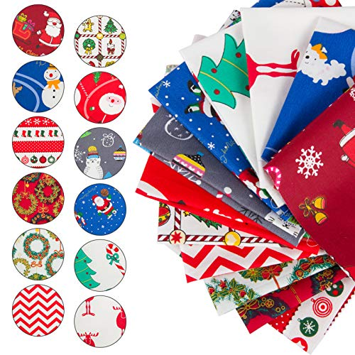 30pcs Christmas Plaid Cotton Fabric- 10 x 10inch Xmas Quilting Fabric Squares in 10 Styles Christmas Fat Quarters Fabric DIY Fabric Supplies for DIY Sewing Quilting Patchwork Homemade Crafts Presents