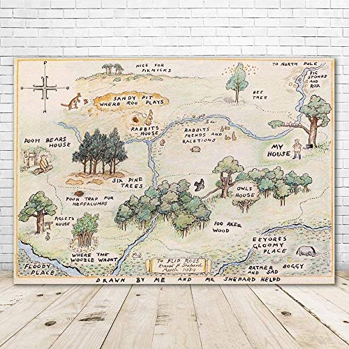 100 Acre Woods Winnie The Pooh Backdrop Baby Shower 7x5 Winnie The Pooh Background Happy Birthday Winnie The Pooh Home Map Backdrops for Kids One Year Old