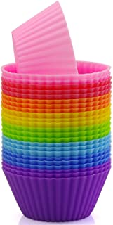Mirenlife Reusable and Non-stick Silicone Baking Cups/Cupcake Liners/Muffins Cups in Storage Container-24 Pack- 8 Vibrant ...