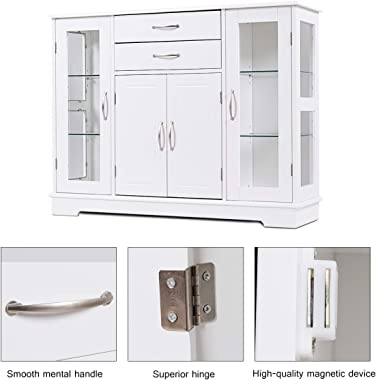 Giantex Sideboard Buffet Server Storage Cabinet W/ 2 Drawers, 3 Cabinets and Glass Doors for Kitchen Dining Room Furniture Cu