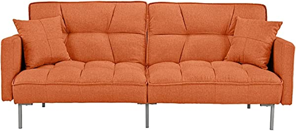 Orange Sleeper Futon Sofa Bed Couch Convertible Orange Futon Recliner Sofa To Bed Feature Modern Plush Tufted Linen Fabric Splitback Lounger Reclining Futon Sofa Beds For Living Small Space Room