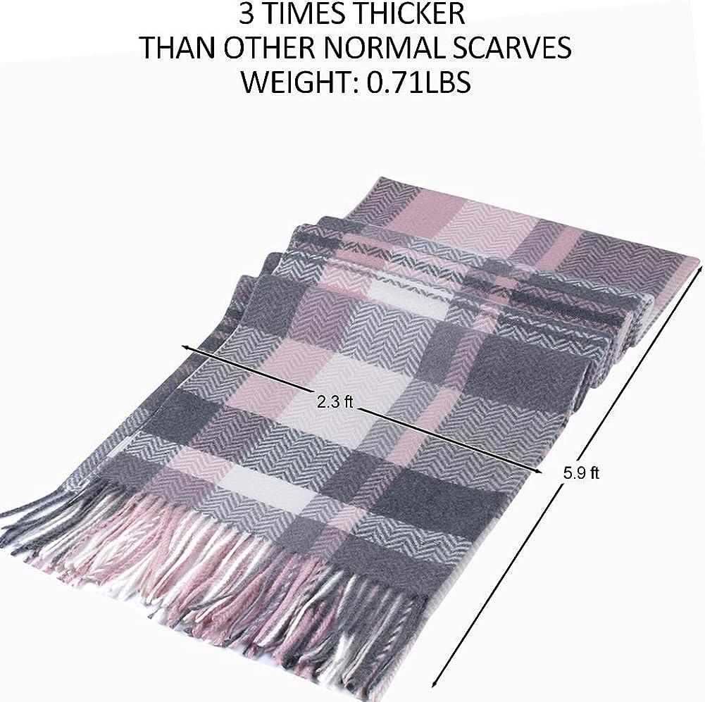 WAMSOFT Cashmere Feel Winter Chunky Scarf Super Soft 3X Thick Polyester Warm Tartan Blanket Shawl Scarf for Men/&Women