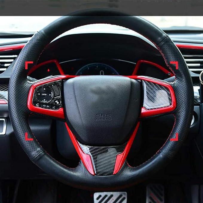 Ajboy 3 X Abs Innen Lenkrad Abdeckung Für Honda Civic 10 2016 2018 Rote Auto Dekoration Auto