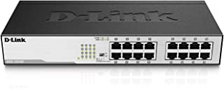 D-Link DGS-1016D/E - Switch 16 puertos Gigabit 1000 Mbps, LAN RJ-45, sin gestión, 1000 Mbps por puerto, carcasa metálica, montaje en rack para pymes, negro y plata