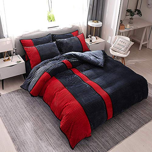LOKKG Duvet Cover Set,Quilt Cover Bedding 4-Piece Autumn And Winter Flannel pillowcase with Double Zipper Duvet Cover Soft Bed Sheet Breathable