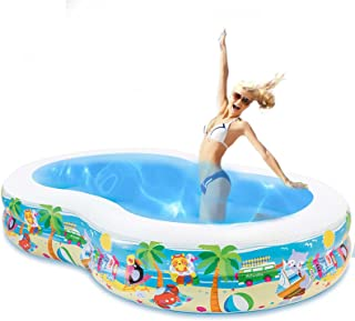 Inflatable Swimming Pool, 262 x 160 x 46cm Large Family Inflatable Pool for Kids Adults Babies Toddlers, Family Paddling P...