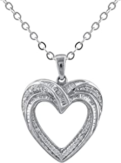 Heart Necklaces for women in 925 Sterling Silver studded with Natural Diamonds (Color I-J, Clarity I2 I3) Pendants for Girls by Pipa Bella