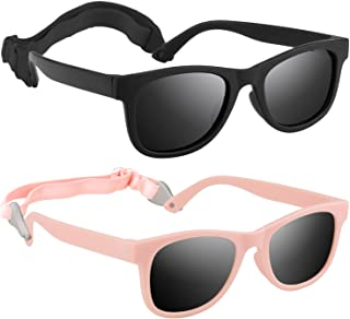 2 Pack Vintage Sunglasses for Kids Polarized, Girls Boys Toddler Baby Glasses Uv-protection ,with Back Adjustable Strap and Flexible Unbreakable Rubber Frame,fit 2-8 Years Child Outdoor Sports Party