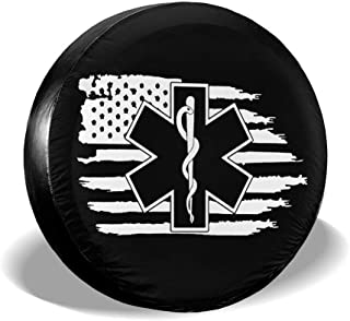 ULNL American Flag EMS Star of Life EMT Paramedic Medic Spare Wheel Tire Cover Funny Waterproof Tire Protectors Novelty