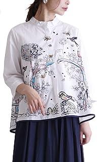 [サワ アラモード] 自然 モチーフ カラフル イラスト 刺繍 七分袖 ブラウス レディース