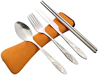 Cutlery Set 2019 Set 4 Pcs/Set Stainless Steel Fork Spoon Chopsticks Travel Outdoor Camping Cutlery Tools Portable Tableware (Color : Orange)