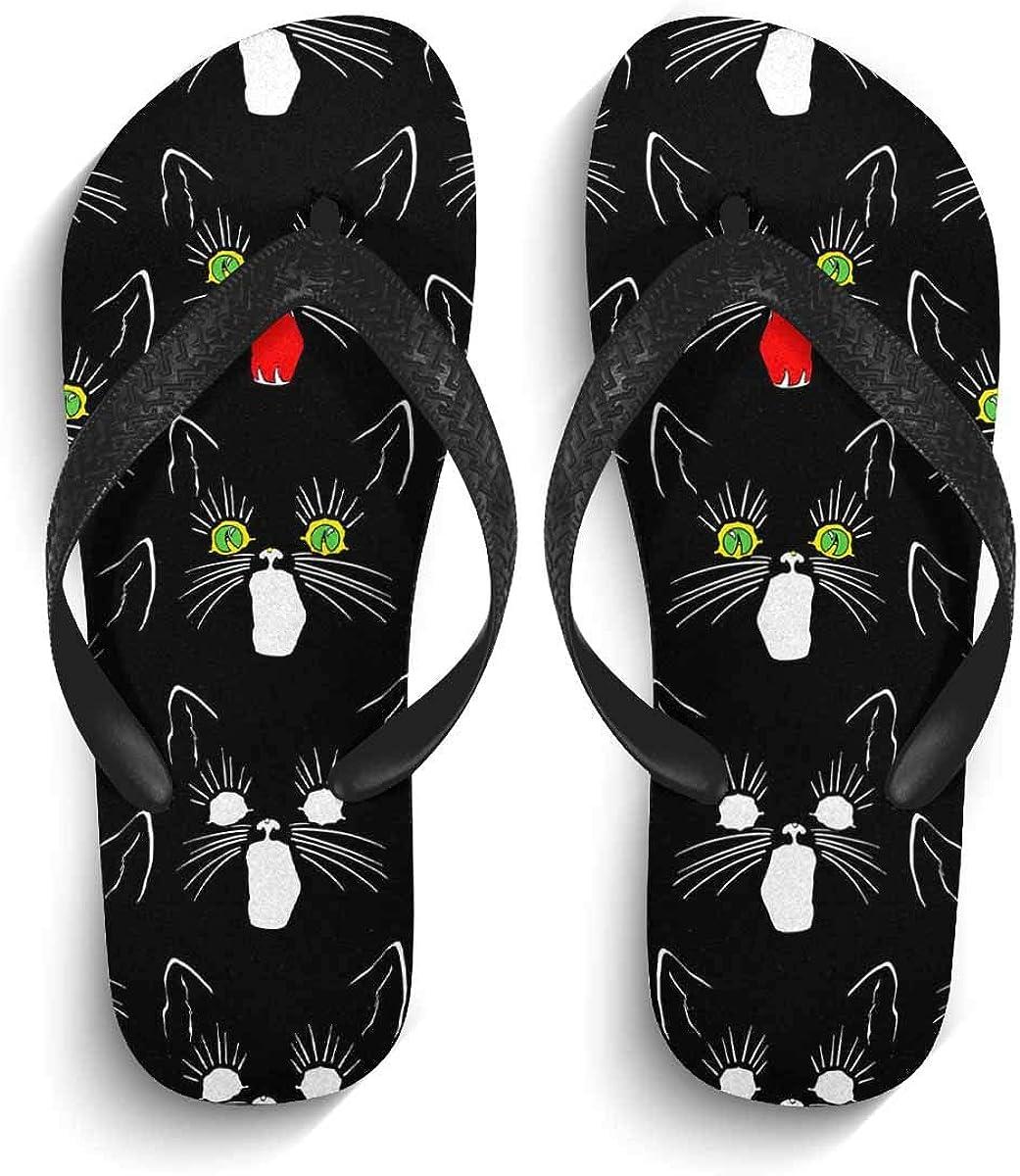 INTERESTPRINT Non-Slip Flip Flop Slippers Black Flowers Lace on Blue Black Straps Slim Thong Sandal for Men