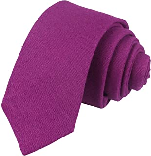 Men's Skinny Cotton Linen Tie Classic Causal Solid Color Narrow Slim cut Necktie