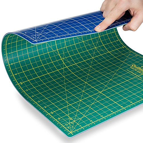 """Quilting Bee 9""""x12"""" 2-in-1 (Green/Blue) Self-Healing Cutting Mat for Quilting, Crafts and Scrapbooking. Use with Rotary Cutters, x-acto Knives and Cutting Blades. (CM0912)"""