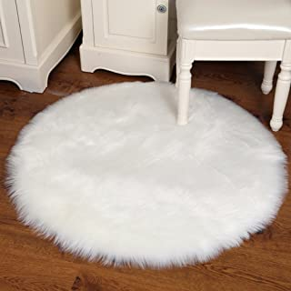 Junovo Ultra Soft Thick Fluffy Round Faux Sheepskin Area Rug for Living Room Bedroom Dormitory Home Decor, Diameter 4ft White