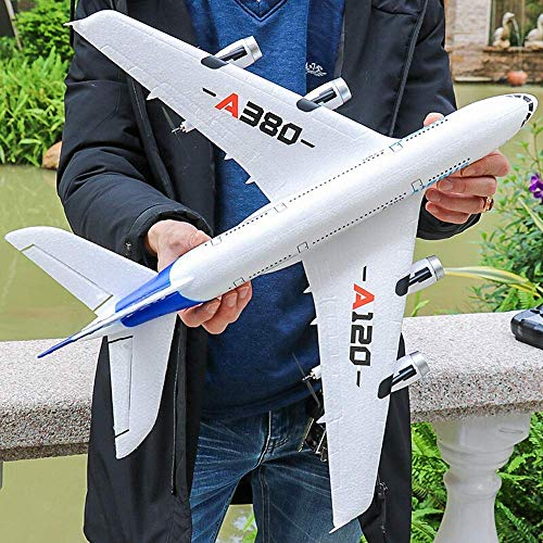 2.4G 3 canali all'aperto Airbus A380 Airbus Airplane E Ala Fissa Gyro Telecomando Contenitore remoto Indietro Pusher Giocattoli aliante Nuovo per la stabilità Extra Giocattolo/Gioco/Bambino/rega