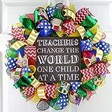 Teacher Christmas Gift - Classroom Front Door Decor Gift Present Outdoor Mesh Wreath - Red Blue Green Yellow Black