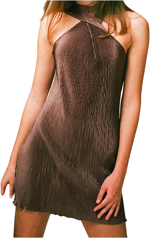 Free shipping / New SWEOXO Women's Short Seattle Mall Mini Dress Stretch Wrap Bodycon Neck Halter