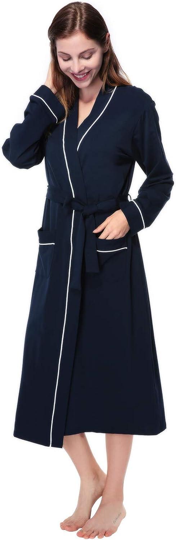 AMONIDA Womens Cotton Long Robes Spa Kimono Knit Bathrobe Soft Sleepwear