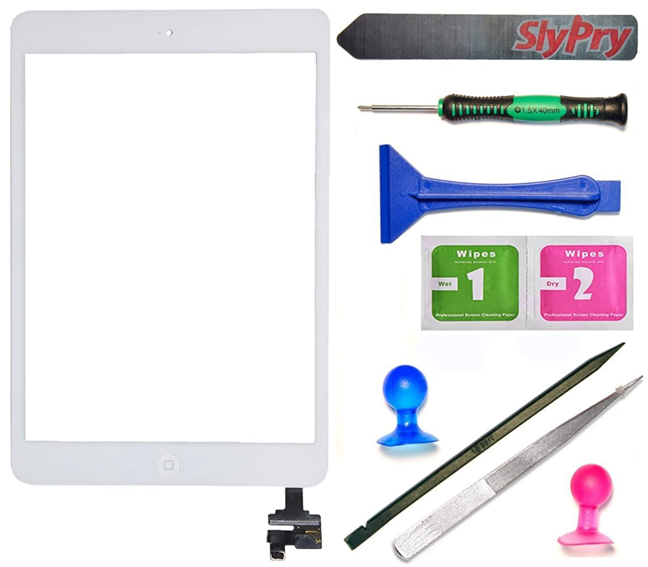 Prokit For White iPad Mini Touch Screen Digitizer Complete Assembly with IC Chip & Home Button replacement with SlyPry opening tool kit Ships from CA USA