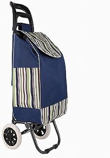 QDY vikbar kundvagn Lätt, shoppingvagn, vikbar shopping på 3 hjul, löstagbar väska och vikbar design (färg: blå 1)
