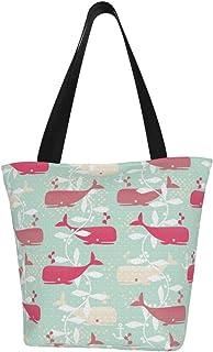 Lesif Einkaufstaschen, Walbeobachtung, Rosa, Segeltuch, Schultertasche, Einkaufstasche, wiederverwendbar, faltbar, Reisetasche, groß und langlebig, robuste Einkaufstaschen