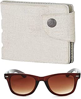 FERRET Men's Brown Sunglasses and White Artificial Leather Wallet