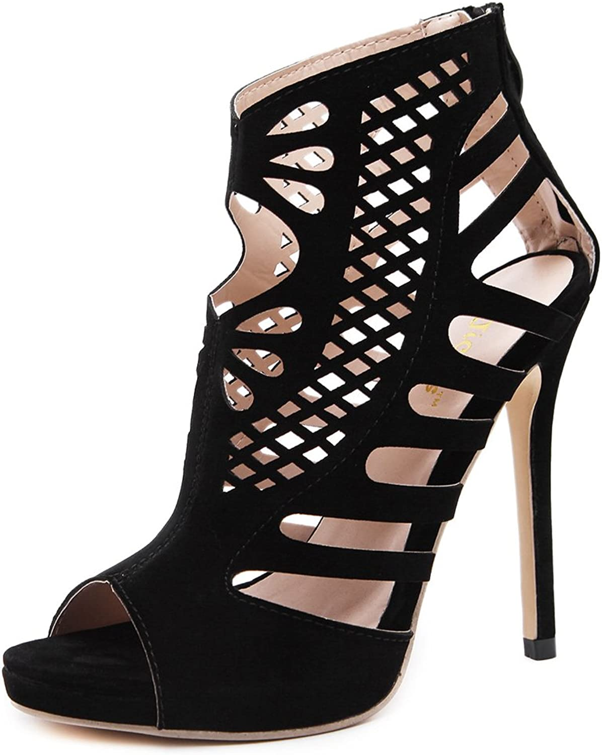 Btrada Sexy Hollow High Heel Sandals for Women Fashion Peep Toe Boots Stiletto Dress shoes Party Pumps