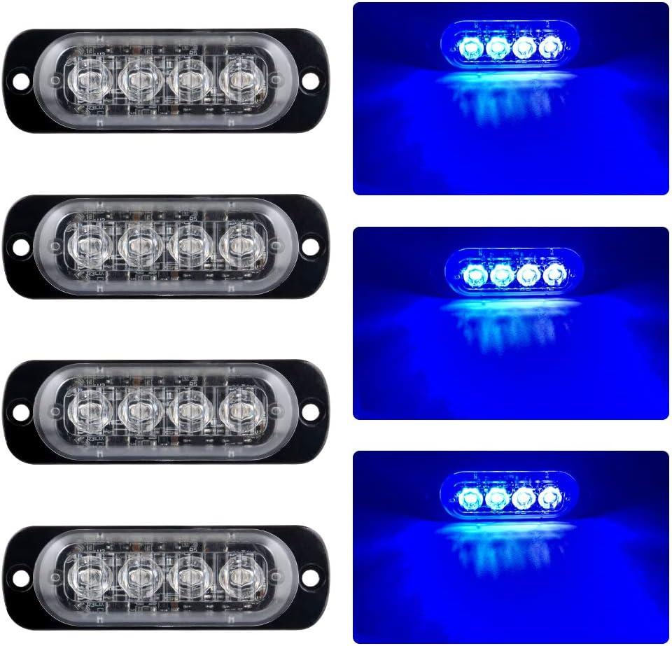 4pcs Luces de Advertencia de Emergencia 4LED Ultrafinas Azules Luces Estroboscópicas Intermitentes Peligrosas Universal Coche 12-24V Caravana Campista Motocicleta Furgoneta