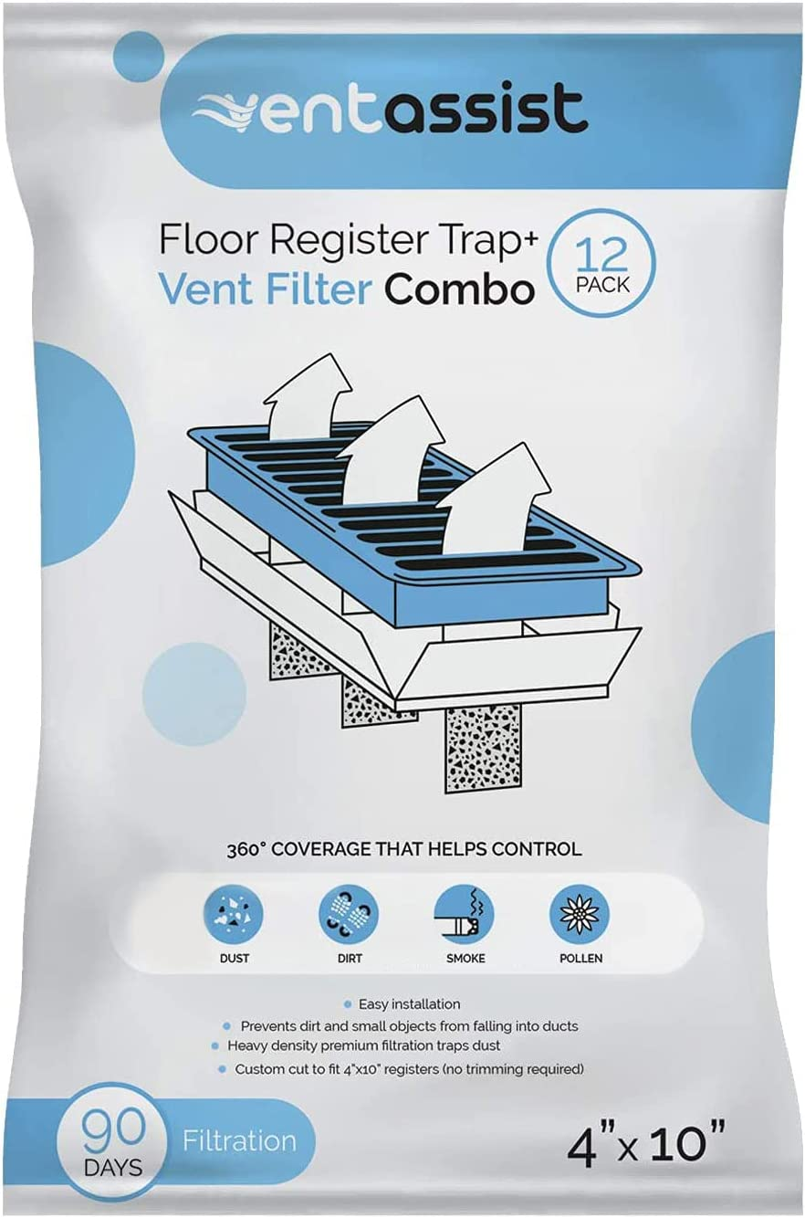 Vent Assist Floor Register Vent Grate Trap and Air Filter Combo - Filtration for House HVAC Ventilation - Duct Protector - Helps Control Dust and Pollen - Pre Cut (4 Inches x 10 Inches, 12 Pack)
