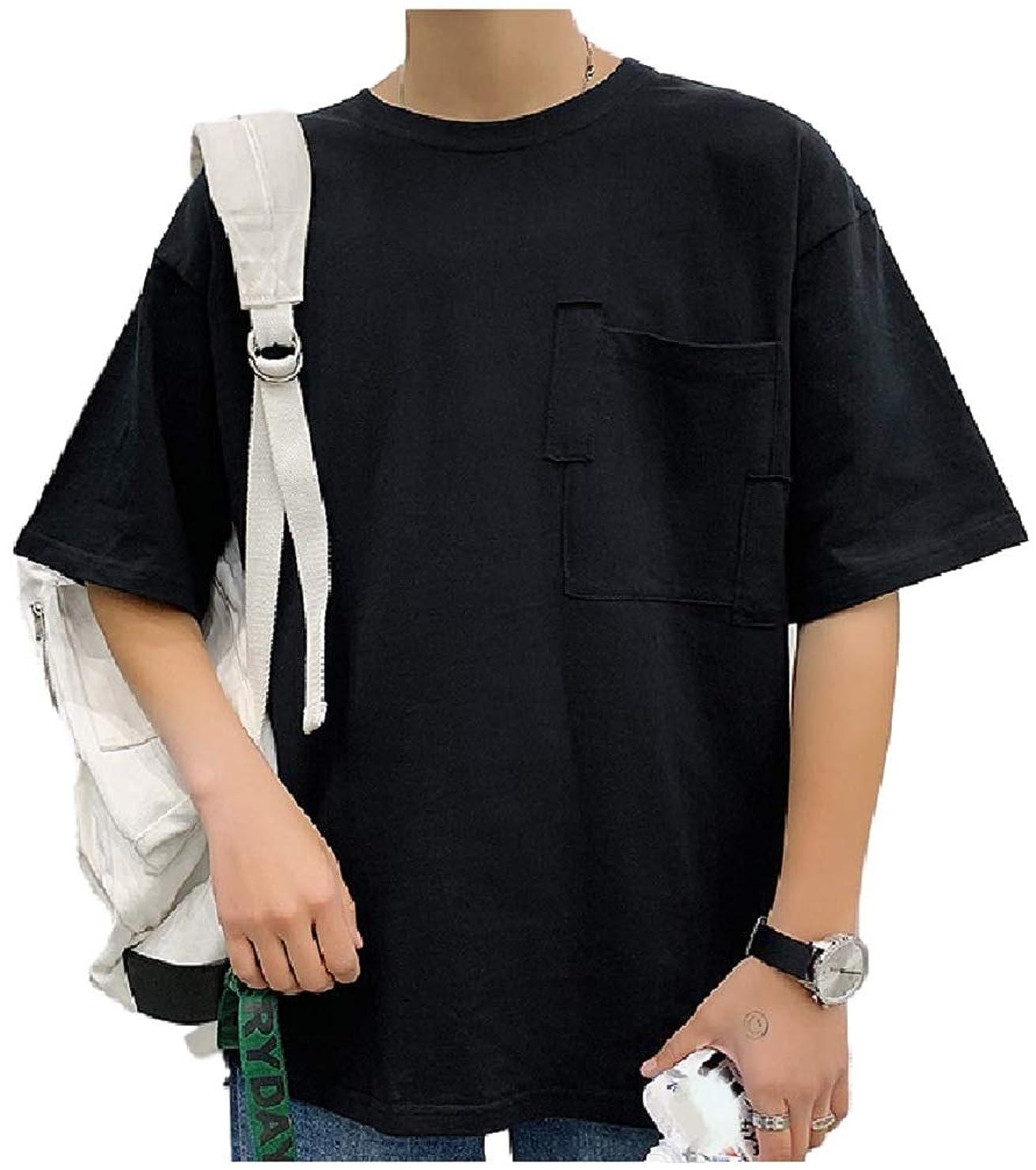 成長買うミッション[フローライズ] 【在庫一掃セール】 胸ポケ ビッグ シルエット ゆったり カットソー tシャツ 無地 抜け感 胸ポケット