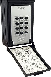 NU-SET 2085-3 Key/Card Storage Wall Mount Push Button Combination Lockbox, Black