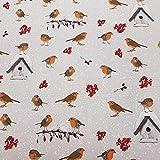 Stoff Meterware Baumwolle Rotkehlchen Vogelhaus hellgrau