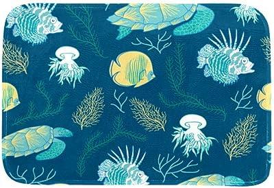 EGGDIOQ Doormats Ocean Animals Custom Print Bathroom Mat Waterproof Fabric Kitchen Entrance Rug, 23.6 x 15.7in