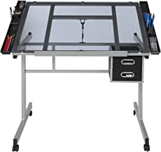 Adjustable Drawing Table, 8mm Tempered Glass Table top Drawing Table Workstation Learning Table, Suitable for Children, Ad...