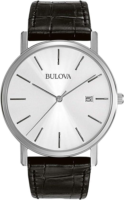 Amazon.com: Bulova Classic Quartz Mens Watch, Stainless Steel with Black  Leather Strap, Silver-Tone (Model: 96B104) : Bulova: Clothing, Shoes &  Jewelry