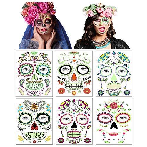 Tatuajes de calaveras de azúcar del día de los muertos, tatuajes de cara de Halloween pegatinas fluorescentes para adultos y niños (multicolor)