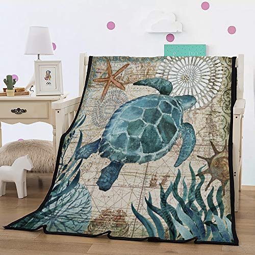 Leichte Flanell Decke, Morbuy Kuscheldecke Sofadecke Bettüberwurf Erhältlich Decke Tagesdecke Decke für Sofa & Bett Falten-widerstandsfähig Schmusedecke (150x200cm,Schildkröte)