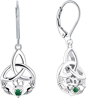 JO WISDOM Women Claddagh Earrings,925 Sterling Silver Irish Celtic Claddagh Love Heart Drop & Dangle Leverback Earrings