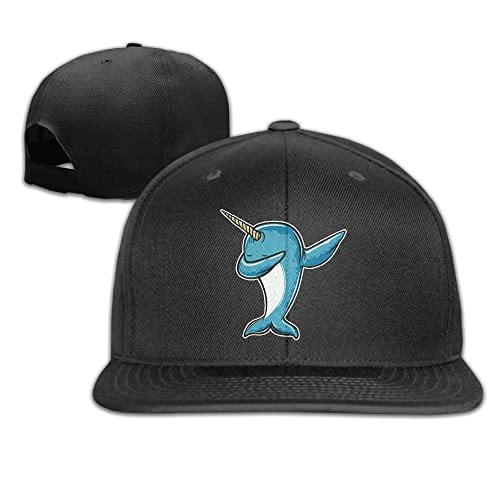 Prohats Dabbing Narwhal Unisex Causal Fitted Flat Bill Skater Hat For Men and Women