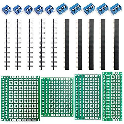 Nabance 32Stk leiterplatte Kit PCB Board Kit 5x7 4x6 3x7 2x8cm Doppelseitig Lochrasterplatte Lochrasterplatine Leiterplatte Platine 12 PCB Universal Board+10 Kopfleiste +10 Screw Terminal