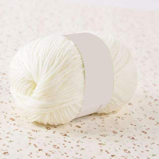 GlobalDeal 50g Hand Knitting Crochet Craft DIY Soft Comfortable Solid Color Woolen Yarn - Cream White