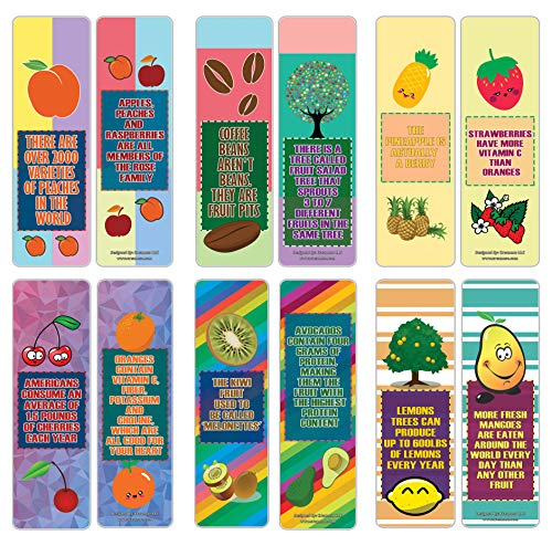 Creanoso Fruits Facts Bookmarks for Kids Series 2 (12-Pack) – Six Assorted Quality Bookmarker Cards Set – Premium Gift Token Giveaways for Boys & Girls, Children – School Classroom Teaching Tool