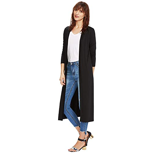 6641ca80132 Verdusa Women s Long Sleeve Open Front Long Maxi Cardigan Longline Duster  Coat