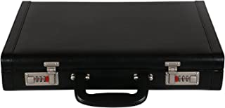 LV | Designer PU Leather Briefcase Bag for Men |15.6'' Laptop Compartment| |Expandable Features| |High Security Combo Number Lock| 18 Liters | Color (Black)
