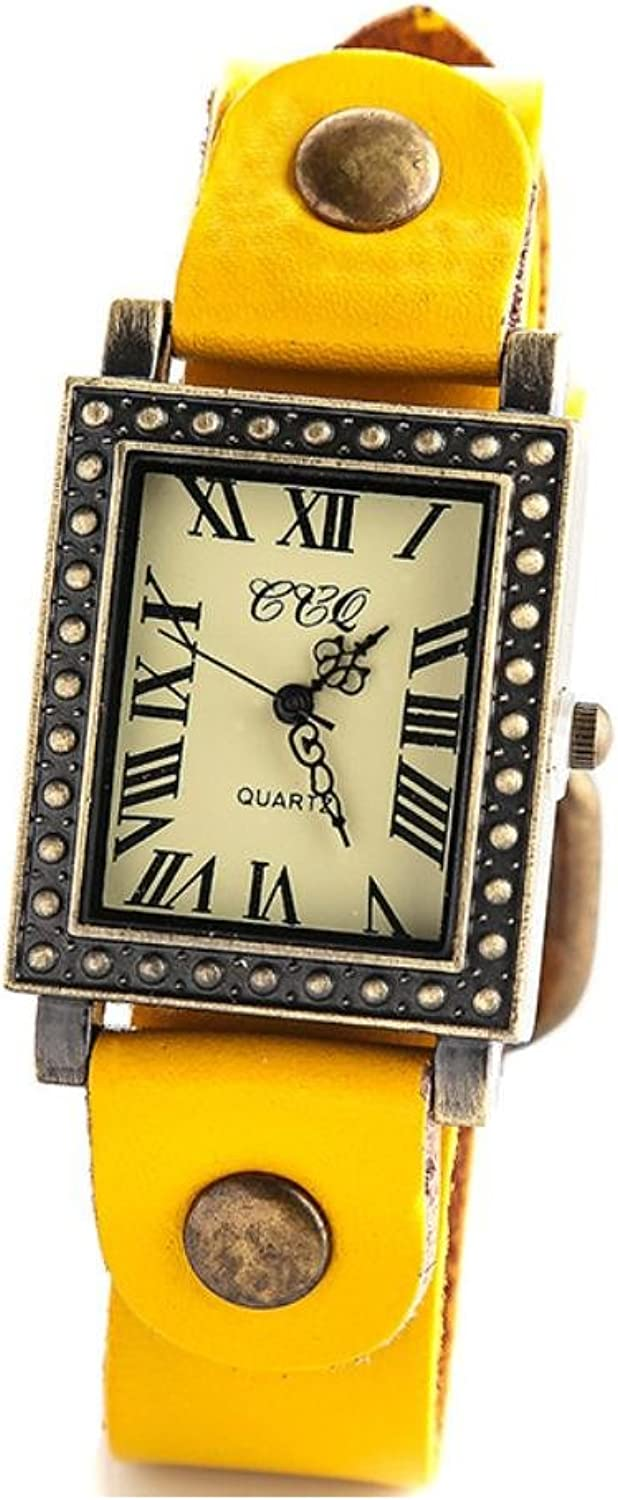 XM Men's vintage fashion movement real cow leather strap watch , yellow