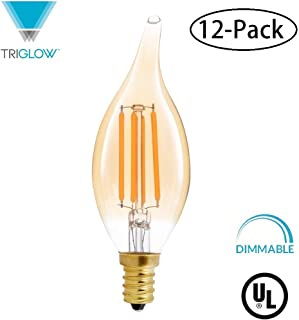 TriGlow T98823-12 (12-Pack) LED 4.5 Watt (40W Equivalent), Flame Tip Amber Glass, DIMMABLE 2200K Color, 350 Lumens, E12 Candelabra Base LED Light Bulbs