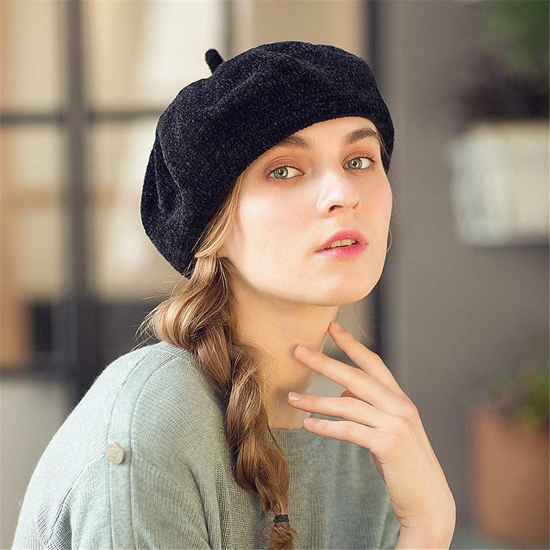 Womens Beret Vintage Solid color Beret Knit Beret Hat Sweet and Warm for Spring Autumn Winter Women Beret Artist Hat (color   Black)