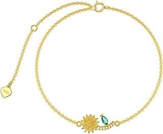 WSX الصلبة 14k الذهب الأصفر عباد الشمس سوار للنساء أساور قابل للتعديل سحر زهرة قلادة مجوهرات هدايا للنساء