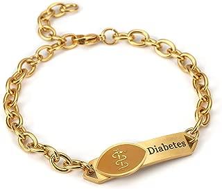 BAIYI Gold Silver Stainless Steel Medical Alert ID Bracelet for Women (Free Engraving)